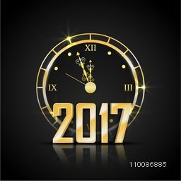 Greeting Card with golden text 2017 and clock showing New Year celebration time.