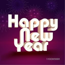 Glossy 3D Text Happy New Year on shiny background.