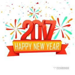 3D Text 2017 with ribbon on fireworks background For Happy New Year celebration.