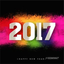 White Paper Text 2017 on colorful background For Happy New Year celebration.