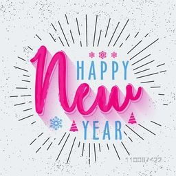 Stylish Text design Happy New Year on abstract background, Elegant greeting card design.