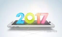 Glossy 3D Colorful Text 2017 on realistic smartphone screen, Creative vector for Happy New Year celebration.