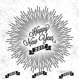 Happy New Year 2017 lettering design with burst effect, Creative greeting card.