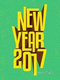 Creative 3D Text New Year 2017 on green background, Elegant greeting card design.