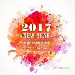Happy New Year 2017 and Merry Christmas celebration greeting card design, Colorful abstract background with snowflakes.