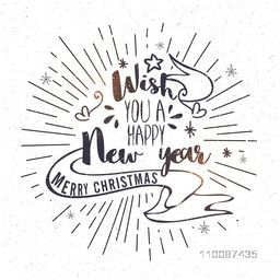 Happy New Year and Merry Christmas Text design on abstract background, Vector greeting card design.