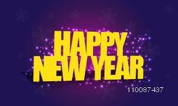 Happy New Year text design on glowing background, Shiny Poster, Banner for Party celebration.