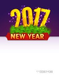 New Year Celebrations Greeting Card or Invitation Card design with Golden Text 2017 and Fir Branches decoration.