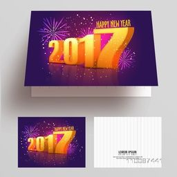 Happy New Year Party Celebration Greeting or Invitation Card design with 3D Golden Text 2017 and exploding fireworks decoration.