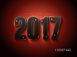 Happy New Year Party celebration poster or banner design with creative glowing text 2017 on shiny background.