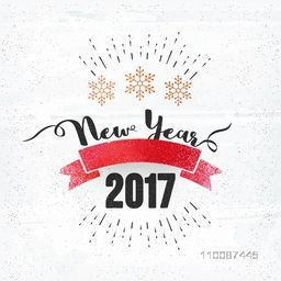 New Year 2017 text design with blank ribbon, Party celebration poster, banner or flyer design.
