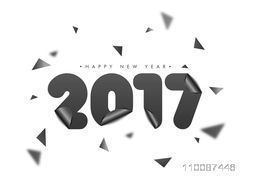 Glossy Paper Text 2017 on white background, Happy New Year Party celebration poster, banner or flyer design.