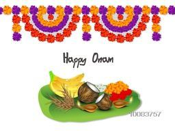 Creative illustration of religious offerings on banana leaf with beautiful flowers decoration for South Indian Famous Festival, Happy Onam celebration.