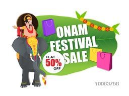 Onam Sale with Flat 50% Off, Creative background with illustration of King Mahabali riding on an elephant and shopping bags on banana leaf for South Indian Festival celebration.