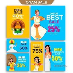 Mega Sale with Special Discount Offers, Set of creative banners for South Indian Famous Festival, Happy Onam celebration.