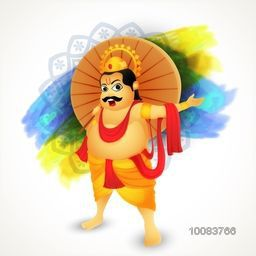 Illustration of King Mahabali on abstract background for South Indian Famous Festival, Happy Onam celebration.