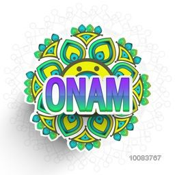 Shiny Paper Text Onam on creative floral rangoli for South Indian Famous Festival celebration, Can be used as sticker, tag or label design.