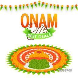 Onam Best Deals Offer, Creative Sale Poster, Banner or Flyer design decorated with beautiful rangoli for South Indian Festival celebration.