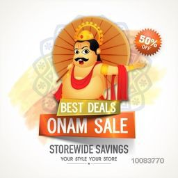 Best Deals Onam Sale with 50% Discount Offer, Creative Poster, Banner or Flyer design with illustration of King Mahabali on abstract floral background.