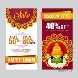 Sale with Flat Discount Offers, Creative website banner set decorated with floral rangoli and kathakali dancer face for South Indian Famous Festival, Happy Onam celebration.