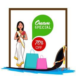 Onam Special Offer Sale with 70% Off, Illustration of young girl in Indian Welcome gesture (Namaste) and Shopping bags on a snake boat for South Indian Festival celebration.