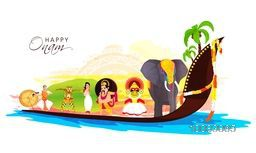 Creative illustration showing culture of Kerala as Decorated Elephant, Kathakali Dancer, King Mahabali, Girl in Traditional Greeting pose, Puli Kali (Tiger Dance) on big snake boat for Happy Onam Festival celebration.