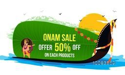 Onam Sale with 50% Discount Offer, Creative Background with illustration of King Mahabali, Snake Boat and Banana Leaf, Can be used as Poster, Banner or Flyer design.