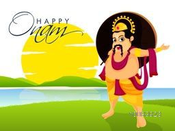 Creative illustration of King Mahabali on beautiful nature view background for South Indian Famous Festival, Happy Onam celebration.