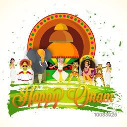 Creative illustration showing tradition and culture of Kerala, Concept for South Indian Famous Festival, Happy Onam celebration.