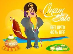 Onam Sale with Upto 40% Off, Creative Poster, Banner or Flyer design with illustration of King Mahabali riding on an elephant and showing culture and tradition of Kerala on yellow background.