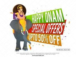 Happy Onam Sale and Special Offers with Upto 50% Off, Creative colorful paper banners and illustration of King Mahabali riding on an elephant, Concept for South Indian Famous Festival celebration.