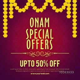 Onam Special Offers Sale with Upto 50% Off, Creative Poster, Banner or Flyer design with beautiful flowers decoration.