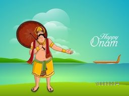 Illustration of a King Mahabali holding an umbrella on nature background for South Indian Festival, Happy Onam celebration.