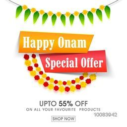 Happy Onam Special Offer Sale with upto 55% Off, Creative Poster, Banner or Flyer design for South Indian Festival celebration.