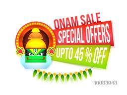 Onam Sale and Special Offers with Upto 45% Off, Creative paper banners with illustration of Kathakali Dancer Face for South Indian Festival celebration.