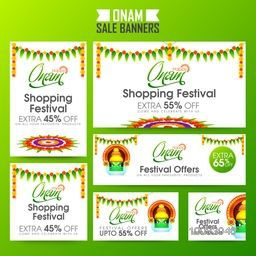 Set of creative sale banners for South Indian Famous Festival, Happy Onam celebration.