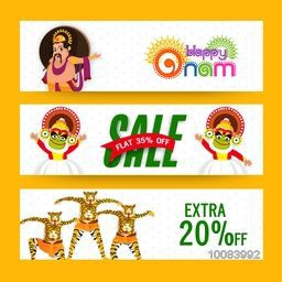 Sale website header or banner set with Extra Discount Offer, Creative illustration of King Mahabali, Kathakali Dancer and Tiger Dance (Puli Kali) for Happy Onam celebration.