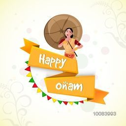 Stylish Text Happy Onam on yellow ribbon with illustration of young girl for South Indian Festival celebration.