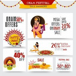 Creative Banner set of Sale with Mega Discount Offers for South Indian Festival, Happy Onam celebration.