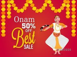 Best Sale with 50% Discount Offer, Creative Poster, Banner or Flyer design with illustration of a young girl performing classical dance on flowers decorated background.