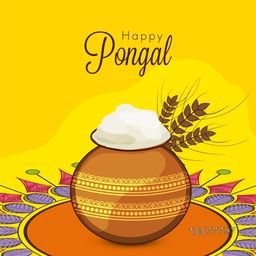 South Indian Harvesting Festival, Happy Pongal celebration with traditional mud pot full of rice on colorful rangoli decorated background.