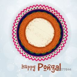 South Indian Harvesting Festival, Happy Pongal celebration with traditional rice mud pot on colorful rangoli background.