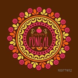 Beautiful floral design decorated rangoli for South Indian harvesting festival, Happy Pongal celebration.