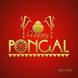 Stylish text Happy Pongal with sugarcanes and mud pot on shiny red background for South Indian harvesting festival celebration.