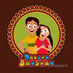 Illustration of cute Brother and Sister in creative frame, Elegant Greeting Card design for Indian Festival, Happy Raksha Bandhan celebration.