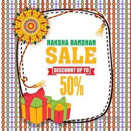 Raksha Bandhan Sale Poster, Sale Banner, Sale Flyer, Discount Upto 50%, Colourful Sale Background with beautiful rakhi and gifts, Vector illustration for Indian Traditional Festival celebration.