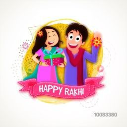 Cute Brother and Sister enjoying after celebrating Raksha Bandhan Festival, Creative abstract background with pink ribbon for Indian Traditional Festival, Happy Rakhi celebration.