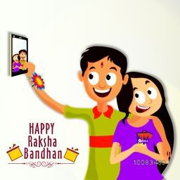 Cute Happy Brother and Sister taking selfie after celebrating Raksha Bandhan Festival, Elegant Greeting Card design for Indian Festival celebration.