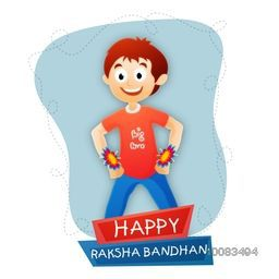Elegant Greeting Card design with illustration of cute little boy showing his beautiful rakhi on occasion of Indian Festival, Raksha Bandhan celebration.