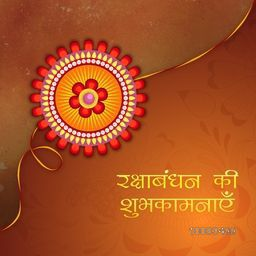 Beautiful Creative Rakhi with Hindi Text (Best Wishes of Raksha Bandhan), Elegant Greeting Card design for Indian Festival of Brothers and Sisters celebration.